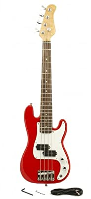 "ELECTRIC BASS GUITAR - RED - Small Scale 36"" Inch Childrens Mini Kids NEW"
