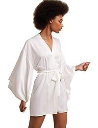 7530f1350e Womens Satin Robes Bridal Wedding Party Loungewear Bride Nightgown Long  Bathrobe Pajamas Sleepwear with Belt