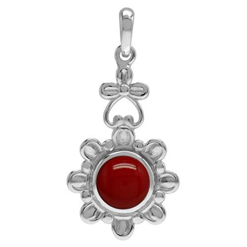 (8MM Created Round Shape Red Coral 925 Sterling Silver Flower Solitaire Pendant)