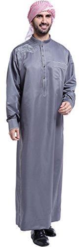 Ababalaya Mens Long Sleeve Mock Neck Embroidered Muslim Thobes Dishdasha Easter Wear