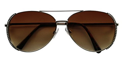 Basik Eyewear - Vintage Rhinestone Fashion Full Metal Frame Aviator Sunglasses (Silver Frame, - Bedazzled Glasses