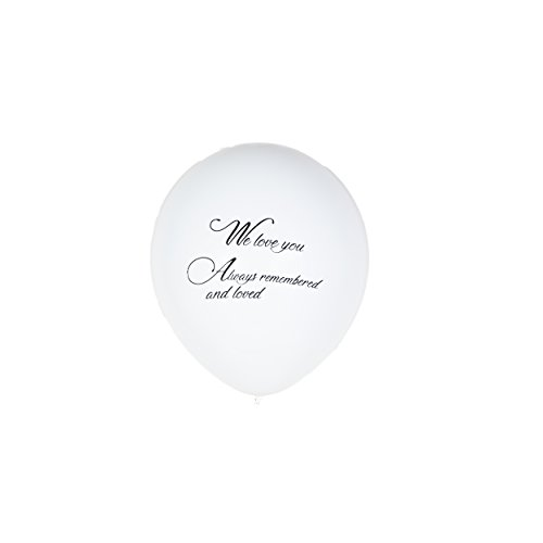 36 Pieces White Remembrance Condolence Memorial Death Anniversary Celebration of Life Funeral Biodegradable 12 Inches Release Balloon We Love You Always Remembered and Loved