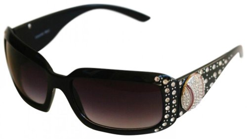 Cocomo Soul Black Rhinestone Baseball Sunglasses Zipper Case/Cleaning Cloth - Sunglasses Mom