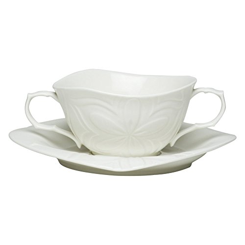 Red Vanilla Clematis 16 oz. Soup Cup and Square Saucer - 8 pc. Set