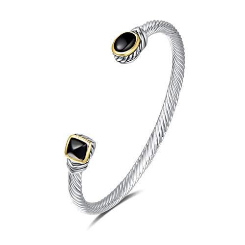 UNY Bracelet Designer Brand Inspired Antique Women Jewelry Cable Wire Bangle Gem Stone Christmas Day Gift (Black Onyx) (David Yurman 8 Row Box Chain Bracelet)