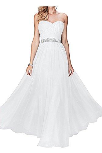 mit mia Weiss Herzausschnitt Langes Braut Weiß Damen Festlichkleider Brautmutterkleider Chiffon La Abendkleider SCaqzZq