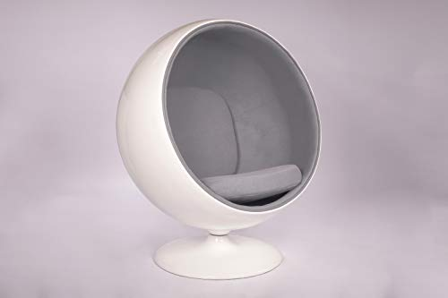 Simple Modern Fashion Style Living Room Ball-Style Fiberglass Chair (LightGray)