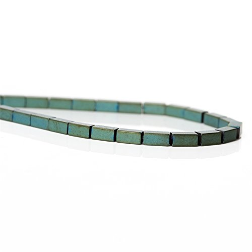 1 Strand Natural Green Frosted Rectangle Hematite Beads for DIY Jewelry Making Findings 4x2mm