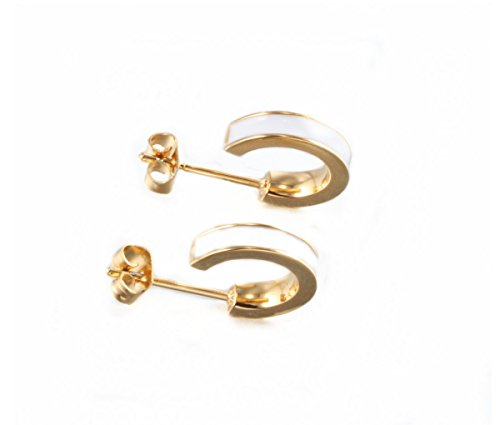 (White Half Hoop Stud Earrings for Men Women C Hoop Huggie Earrings Stud Screw Back Plug Post Punk Style(Gold Tone) by K COOL)