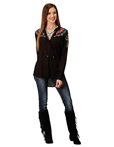 Roper Women's Embroidered Peasant Blouse Black - Shirt Roper Embroidered