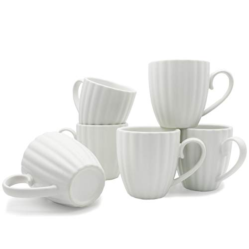 Sumerflos 8 Ounce Porcelain Mugs, Elegant New Petal Stripe Ceramic Mug Set for Coffee, Tea, Cocoa, Set of 6, Matte White