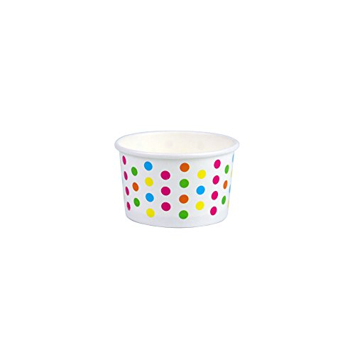 Vanilla Ice Cream Cups - Yocup 3 oz. Polka Dot Rainbow Paper Ice Cream/Frozen Dessert Cup - 100 ct