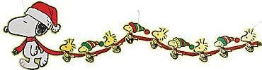 Peanuts Christmas Garland Large Snoopy and Woodstock Banner Party -