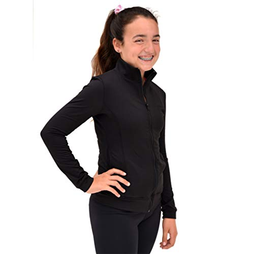 Youth Warm Up Jacket - Stretch is Comfort Women's Cotton Warm Up Track Dance Cheer Jacket Black Medium