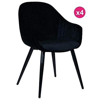 Kosyform - Juego de 4 sillones Almuerzo Terciopelo Negro con ...