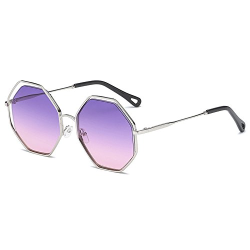 Lens Silver Metal Unisex Outdoor Luxury Polygonal purple Pink Retro On Frame UV Ptotection Frame Sunglasses Personality Fashion Eyewear Sunglasses Travel Sunglasses xRZxCqA