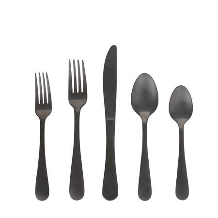 Classic 20 Piece Alder Flatware Set - Durable Stainless Steel - Service for 4 People (Black)