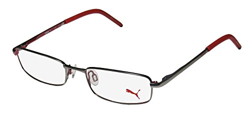 Puma 15382 Mens/Womens Designer Full-rim Flexible Hinges Eyeglasses/Eyeglass Frame (49-17-135, Gunmetal / - Eyeglass Metal Frames Flexible