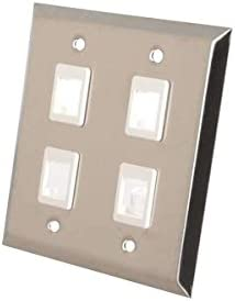 Stainless Steel C2G 37097 4-Port Keystone Double Gang Wall Plate TAA Compliant