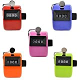 Somnr® Assorted Color Handheld Tally Counter 4 Digit Display Golf Handheld Manual 4 Digit Number Tally Counter Clicker for Lap/Sport/Coach/School/Event (Pack of 5)