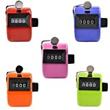 Somnr® Assorted Color Handheld Tally Counter 4 Digit Display Golf Handheld Manual 4 Digit Number Tally Counter Clicker for Lap Sport Coach School Event (Pack of 5)