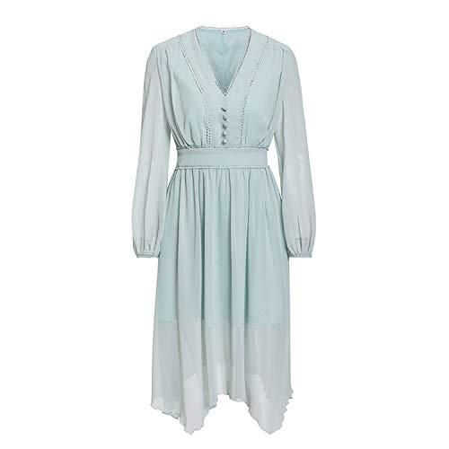 (Tuyhnm Mint Green Dress Women Long Sleeve Chiffon Casual Pompon Plus Size Vestidos,Green,XL)