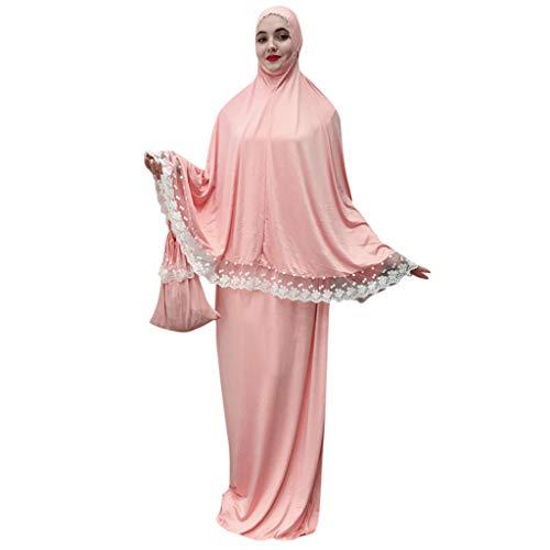 Kiminana Loose Robes,Pus Size Muslim Solid Color Fashion Robes Dress Pink