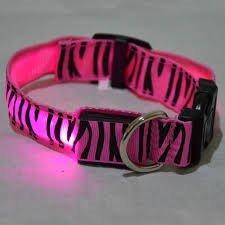 Pink Large Pink Large Zebra Print USB rechargeable LED pet collar (Large, Pink)
