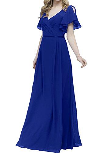 Violett Abendkleider Bodenlang Chiffon Neck Neu V IvydressingRomantisch 2017 Neu Ballkleider Kurzarm Promkleider Royalblau fwOgxCqSB