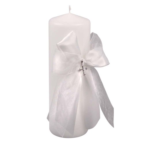 Beverly Clark Collection Grace, Unity Pillar Candle with Crystal Cross, White Beverly Clark Holder