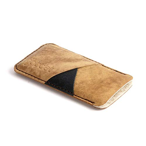 Brown Leather sleeve for OnePlus 6T, wallet case compatible with OnePlus 6T Premium Full grain leather 100% handmade quality pouch for OnePlus 6T with Merino wool felt lining