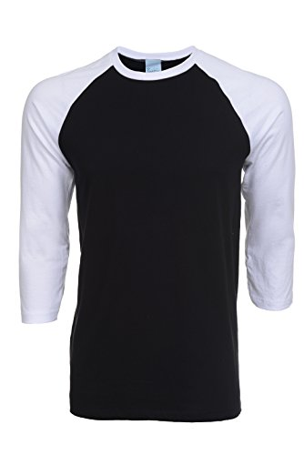 Pacific Mens Raglan 3/4 Sleeve Baseball T-Shirt (X-Large, White-Black)