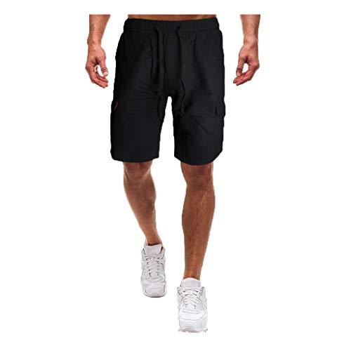 LUCAMORE Men's Cotton Elastic Waist Cargo Shorts Drawstring Casual Classic-Fit Pants Black
