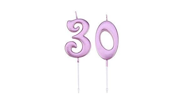 Amosfun 2pcs Pastel de cumpleaños Vela 30 Número Decoración ...