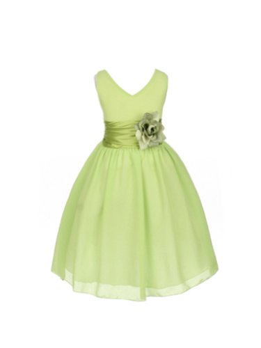 V-Neckline Chiffon Flower Girl Dress-Lime-8 (Lime Flower Girl)