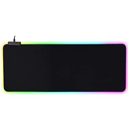 Alfombrilla de ráton para juegos RGB LED, Luz LED extra grande antideslizante Almohadillas de ráton LED para juegos RGB...
