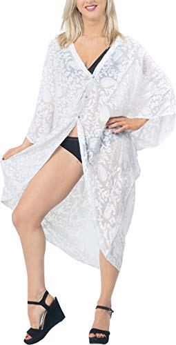 Women Blouse Loose Drape Kimono Beach Cardigan Chiffon Crochet White_V637 16-28W