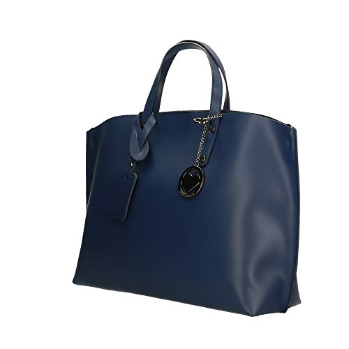 Made Borsa in Pelle Chicca in Borse Scuro Blu Italy Bag 47x30x14 cm Mano a fxx0ET8