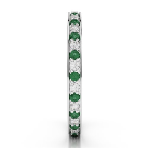 G-H/VS 0,29CT Coupe ronde sertie de diamants Émeraude et Full Eternity Bague en platine 950Agdr-1078