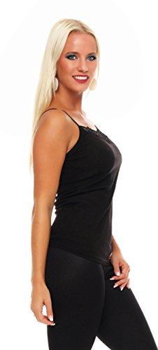 2 ropa interior Paquete mujeres con el número 421 de encaje (chaleco, camiseta, camisa) Negro / Rojo
