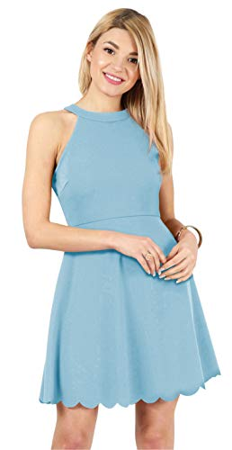 - Womens Skater Halter Neck Dress with Scalloped Hem Cocktail Party Dress Reg. and Plus Size - Made in USA (Size XX-Large US 12-14, Light Blue)
