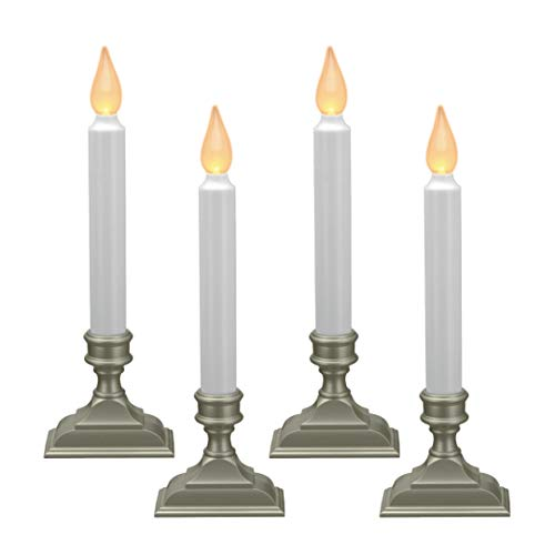 612 Vermont Battery Operated LED Window Candles with Flickering Amber Flame, Automatic Timer, 9.75 Inches Tall (Pack of 4, Pewter) (Cordless Christmas Candles)