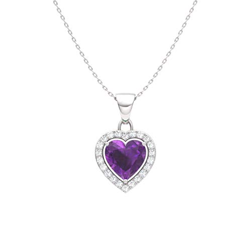- Diamondere Natural and Certified Amethyst and Diamond Heart Petite Necklace in 14k White Gold | 0.51 Carat Pendant with Chain