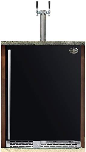 Beer Meister dual tower with black door built-in kegerator - Premium Series