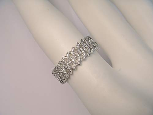 18k Gold Diamond Eternity Ring - Beautiful 18K White Gold Hidalgo Diamond Eternity Wedding Band Ring