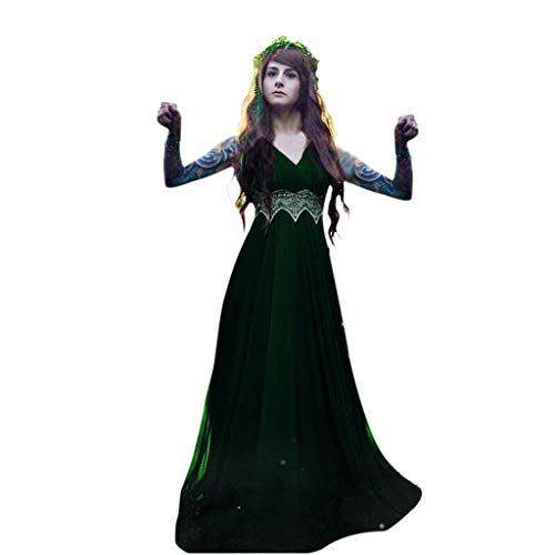 Tantisy ♣↭♣ Women's Cosplay Victorian Vintage Gown Long Dress Plus Size Sleeveless Floor Length Party Dress Gown S-5XL Green -