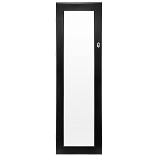 Homegear Modern Door/Wall Mounted Mirrored Jewelry Cabinet Organizer Storage Black
