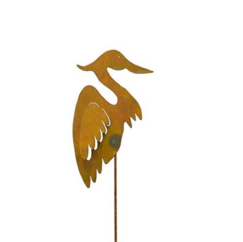Heron Rusty Metal Garden Stake