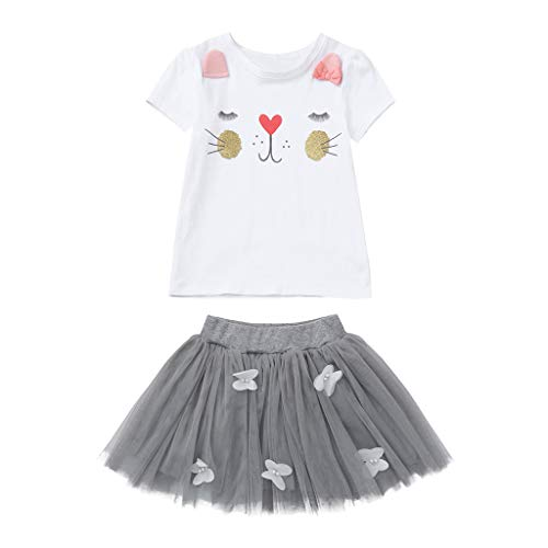 BSGSH Cute Toddler Baby Girls Clothes Set Easter Bunny T-Shirt and 3D Butterfly Skirt 2pcs Outfits (18-24Months, Gray)