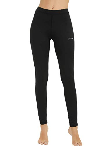 - Women's Thermal Compression Shirt Baselayer Long Sleeve Fleece-Lined Winter Workout Yoga Running Tops (Pants -Black, Medium)